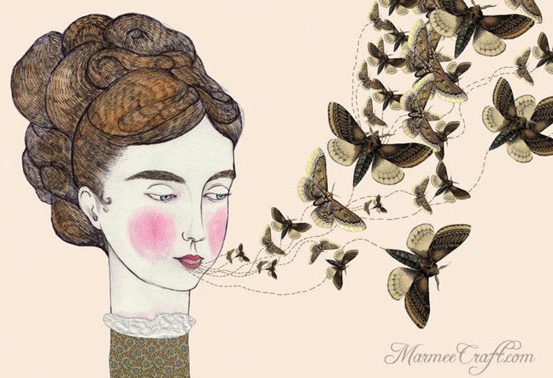 MarmeeCraft moth girl art print Moth Speak image 0