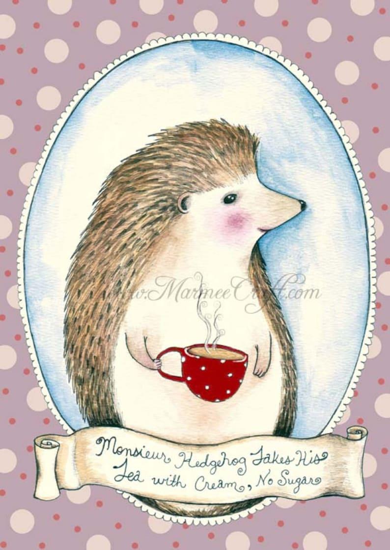 MarmeeCraft art print Monsieur Hedgehog image 0