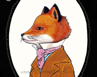 "MarmeeCraft fox art print, ""Mr. Fox, Esquire Cabinet Portrait"""