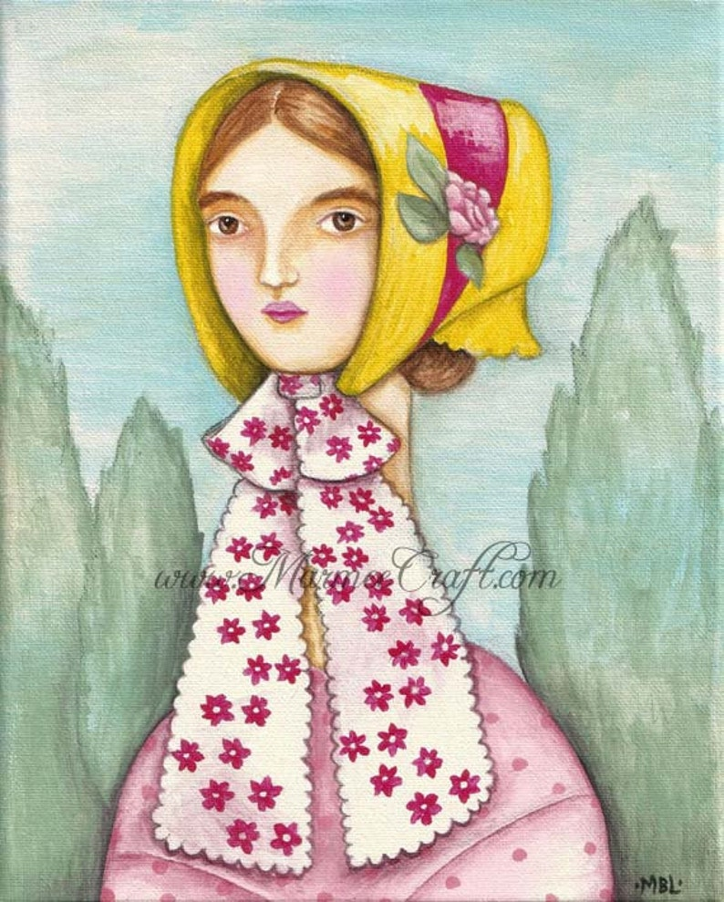 MarmeeCraft bonnet girl art print Ribbons image 0