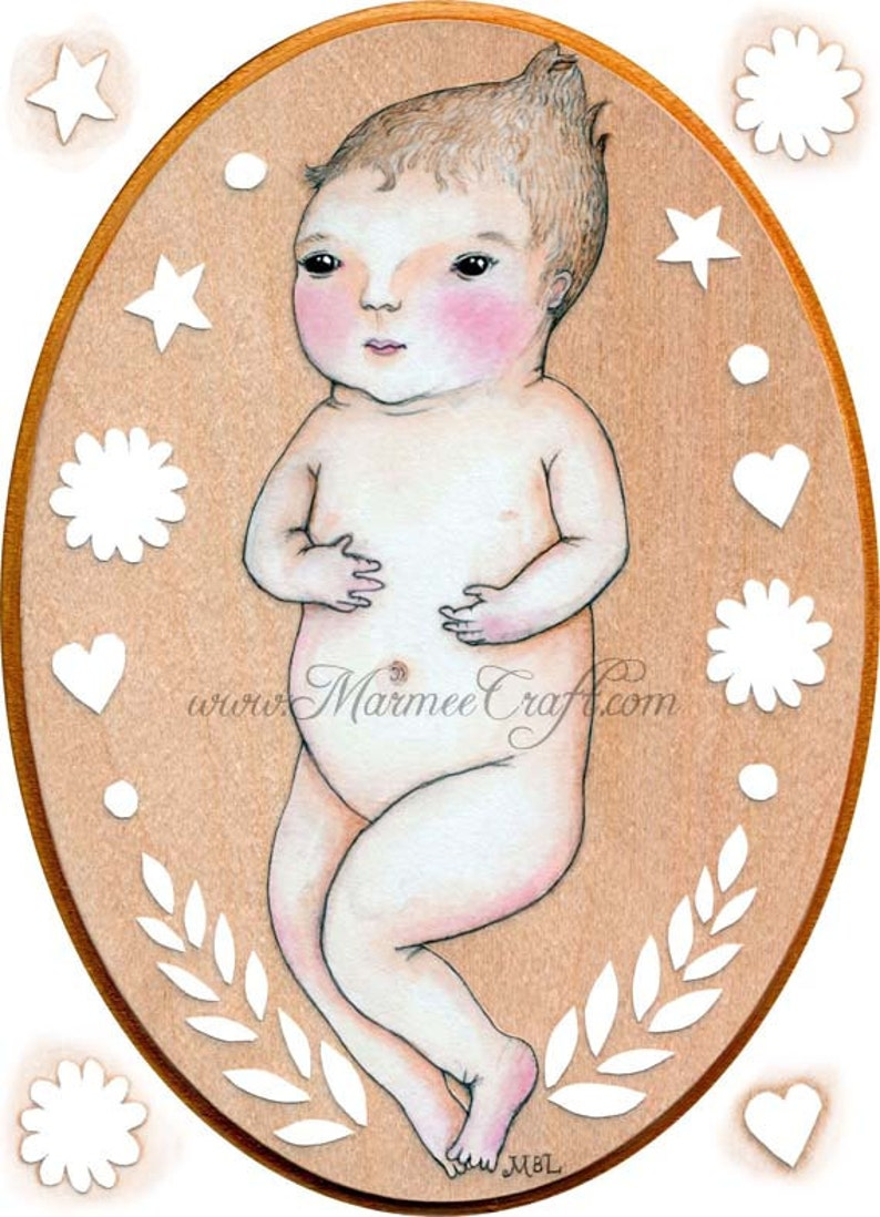 MarmeeCraft baby art print Clover Heart Star image 0