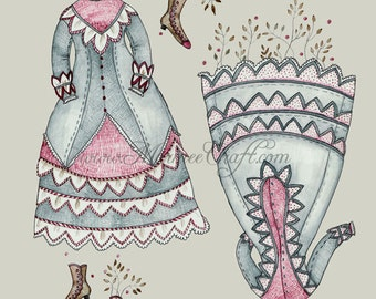 """MarmeeCraft dress art print, """"The Sprouted Frock Circa 1870"""""""