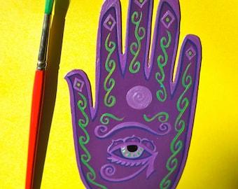 Henna , Mehndi Hand , Magnet , Eye of Horus, moon,  protection, MadeToOrder  only