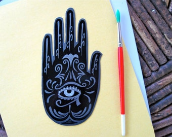 Henna , Mehndi Hand , Magnet ,  Eye of Horus, black, protection talisman, Made to Order only