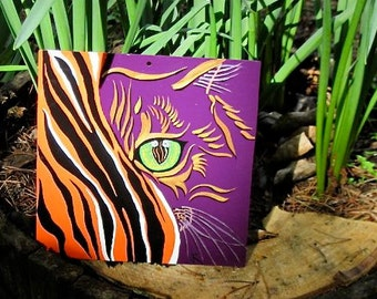 CatEyes , surreal painting, cats face, tiger, wall decor