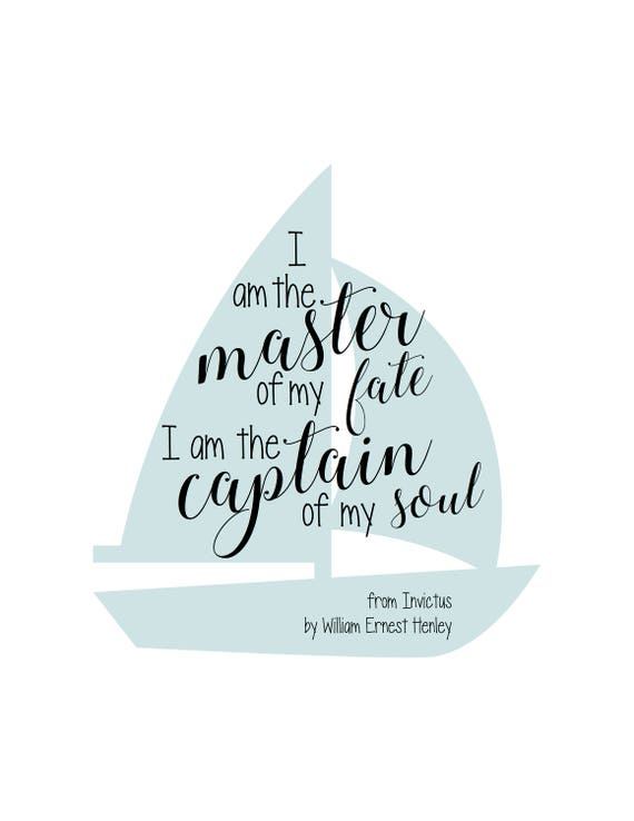Master of My Fate Captain of My Soul Motivational Inspirational Typography Poster Invictus by William Henley Art Print Graduation Gift