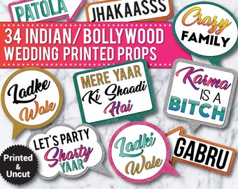 34 indian wedding bollywood wedding photo booth printed uncut props signs bollywood props india party props bollywood wedding props