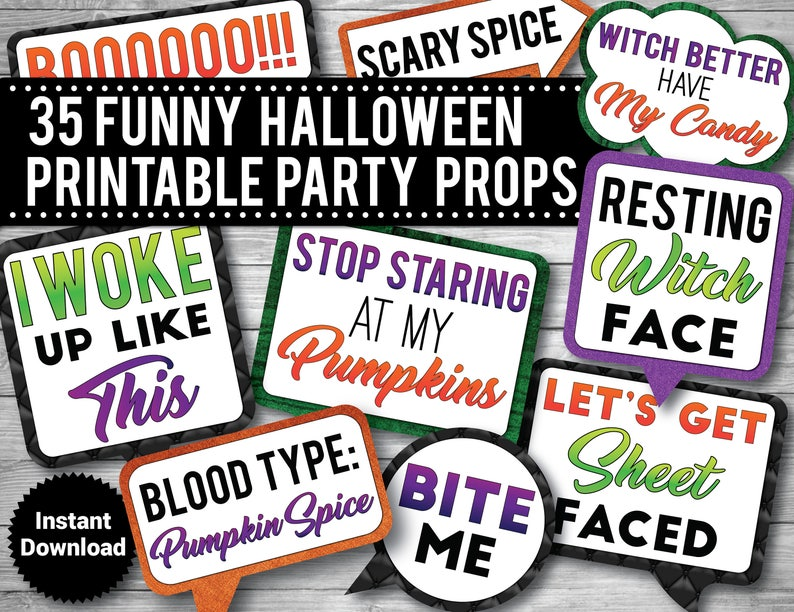 image relating to Halloween Signs Printable known as 35 - Humorous Halloween Image Booth Props, PRINTABLE Props, Humorous Grownup Props, Consuming props, Prompt Obtain