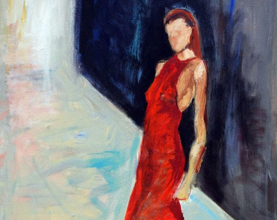 Abstract Realism Fashion RED Dress Runway Original Painting - VOGUE - 30x20 BenWill