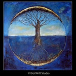 Abstract Tree HUGE Painting ORIGINAL Art - Blue Tree of Life - Modern Painting Tree Art - Original Artwork by BenWill