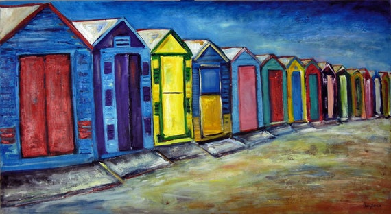 Brighton Beach Houses Australia - Fine Art Print Giclee from Original Oil Painting by BenWill