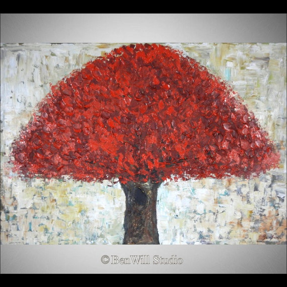 Red Tree Painting ORIGINAL Contemporary Art in Red - Abstract Tree Painting on Canvas 40x28 by BenWill
