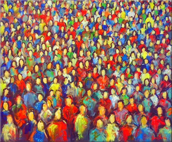 Abstract Modern Art Colorful Large Pop Art  Original Painting Anonymity Faces in the Crowd 36x30 by BenWill