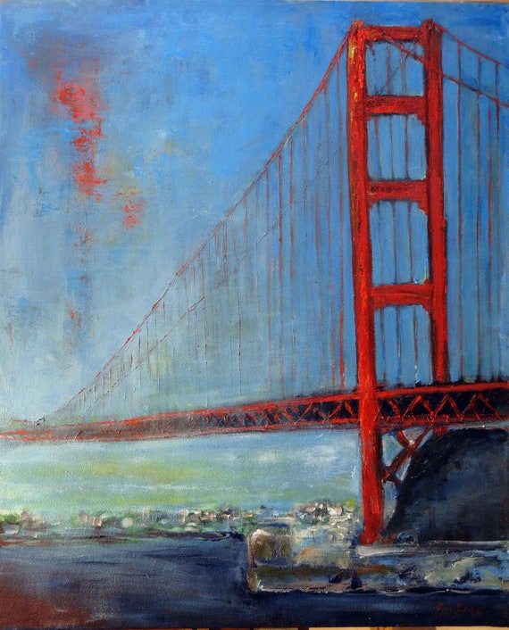 Golden Gate Bridge San Francisco Original Painting 36x30 Artwork by BenWill