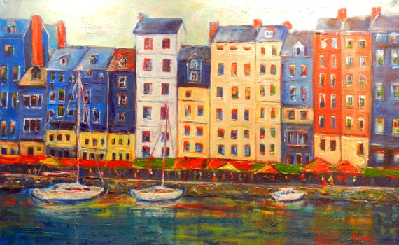 Oil Painting FRANCE - HUGE Original Wall Art HONFLEUR France Ready to Hang 48x30 by BenWill