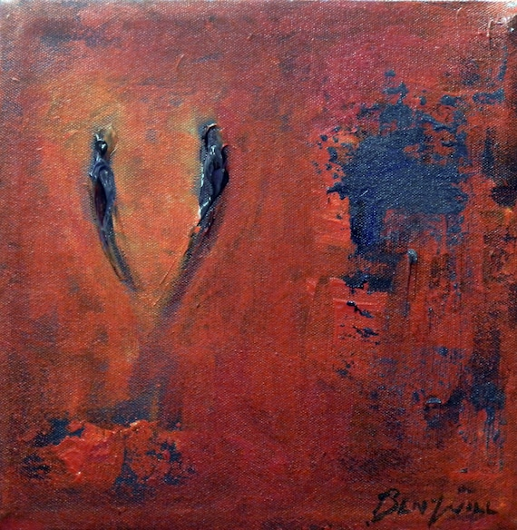 SOULMATE Valentines Art ORIGINAL Abstract Purple Orange - Ready to Hang 10x10 Fine Art by BenWill