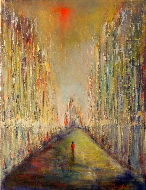 ORIGINAL Abstract Realism Painting - Cathedral  24 x 18 - Modern Wall Art by BenWill