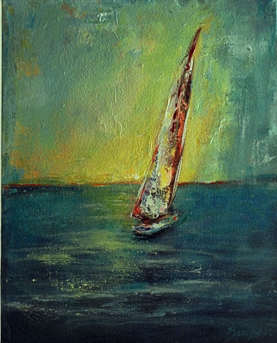 ORIGINAL Abstract SEASCAPE Painting Large Impressionist Sailing Art, SAILBOAT Ocean Oil Painting 20x16 by BenWill