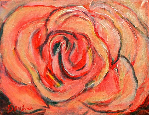 Coral Rose Original Painting Artwork 11x14 artwork by BenWill