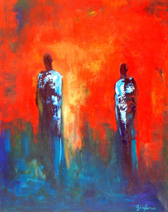 ORIGINAL Abstract Painting  Figure Art  Interactions People -  30x24 - Abstract Fine Art by BenWill