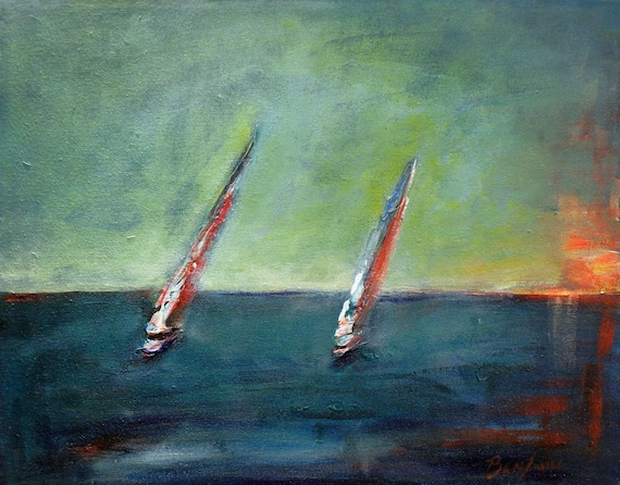 Abstract SEASCAPE water Sailing Art, SAILBOATS Ocean Oil Painting 20x16 by BenWill
