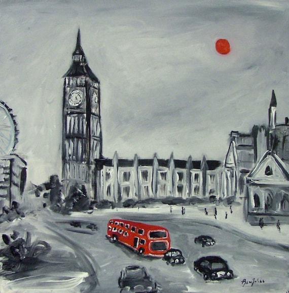 Red Bus London England - Fine Art Print Giclee from Original Oil Painting by BenWill