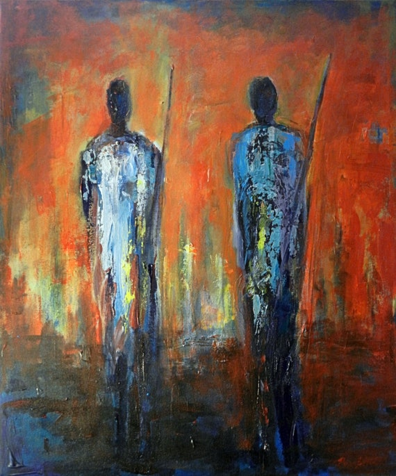 ABSTRACT People Huge ORIGINAL painting Maasai Warrior 36x30 by BenWill