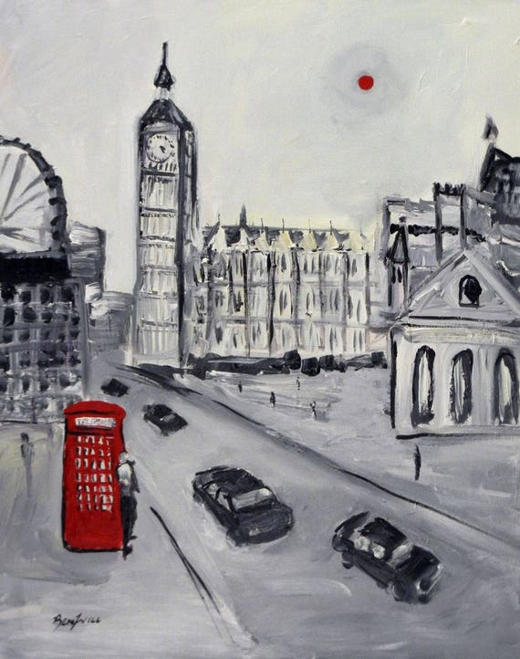 Red Telephone Booth London England - Fine Art Print Giclee from Original Oil Painting by BenWill
