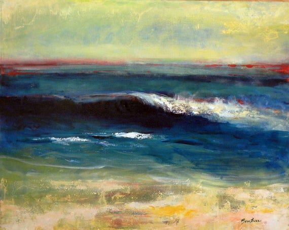 Seascape Beach Surf Abstract Art Painting Wave Original Artwork 30x24 by BenWill
