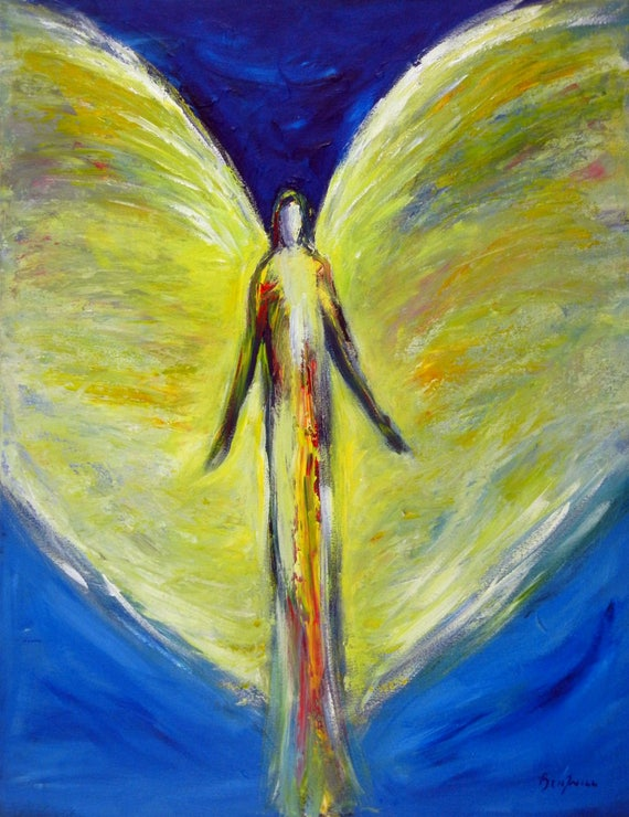 Angel Glorious Comfort Vision of Angels Print of an Original Painting by artist BenWill