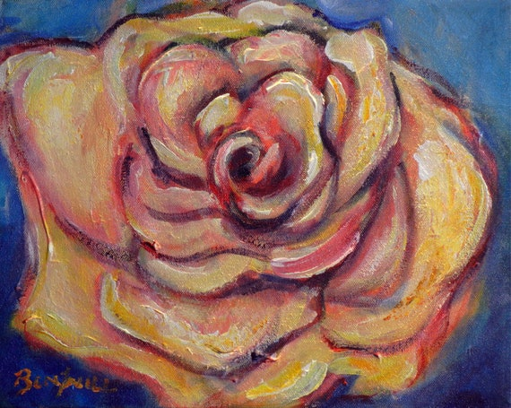 ORIGINAL Painting Pink Rose Artwork 11x14 Expressive artwork by BenWill