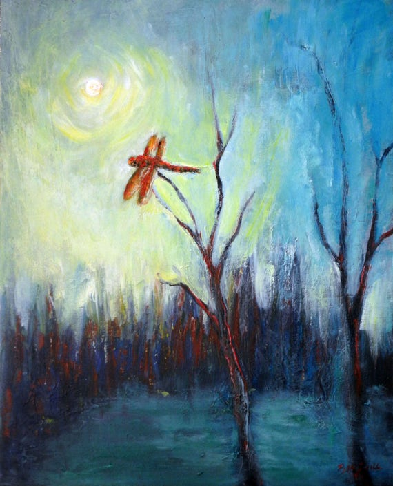 ABSTRACT Art ORIGINAL Painting Dragonfly in Marsh Modern Artwork 30 x 24 by BenWill