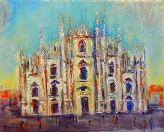 Colorful Original Painting Cathedral Fine Art on Canvas, MILAN ITALY 20x16 by BenWill
