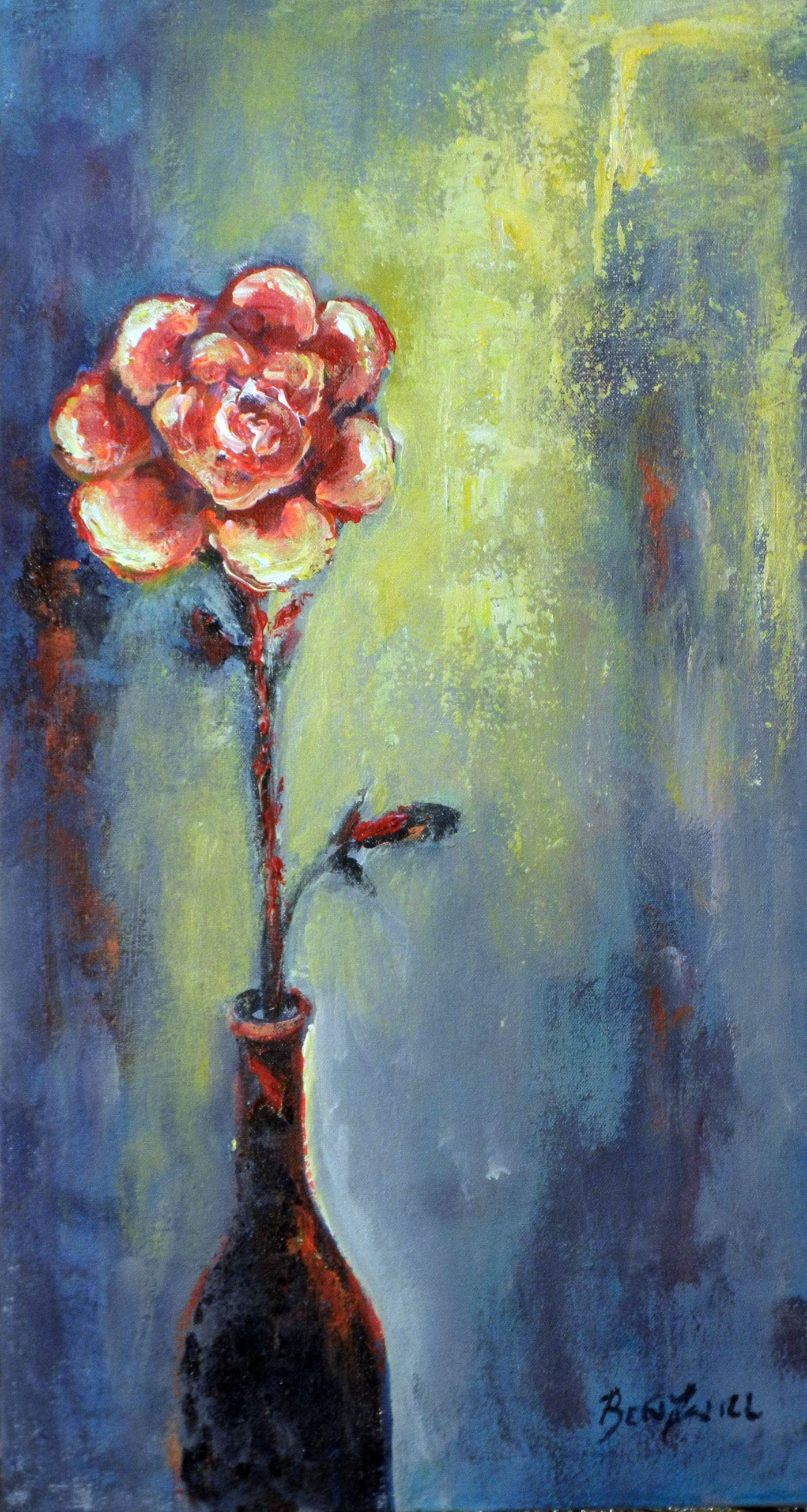 ABSTRACT Art ORIGINAL Painting Rose in Vase Modern Artwork 22 x 12 by BenWill