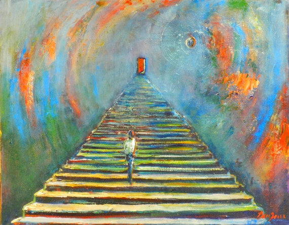 ORIGINAL Painting INSPIRATIONAL Art - turquoise and orange Painting STAIRWAY 20x16 by BenWill