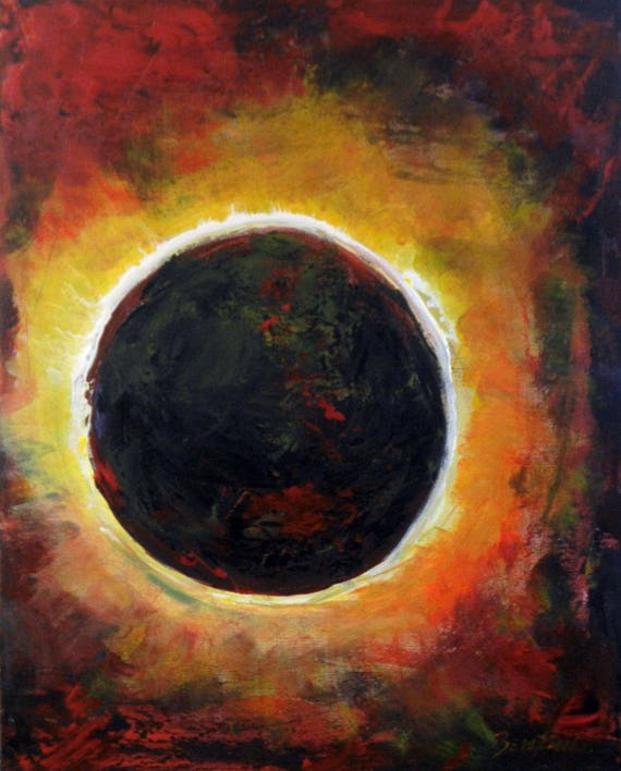 Solar Eclipse Abstract Painting Original art on Canvas 20x16 Art by BenWill