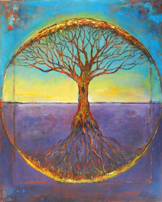 Abstract Painting ORIGINAL Art -  Vitruvian Tree of Life - Modern Tree Art - 30x24 Original Artwork by BenWill