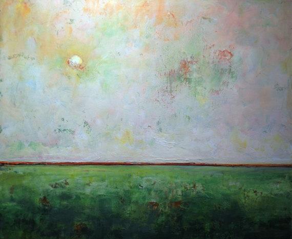 Original Painting Minimalist Abstract Art Green Orange White 36x30 by BenWill