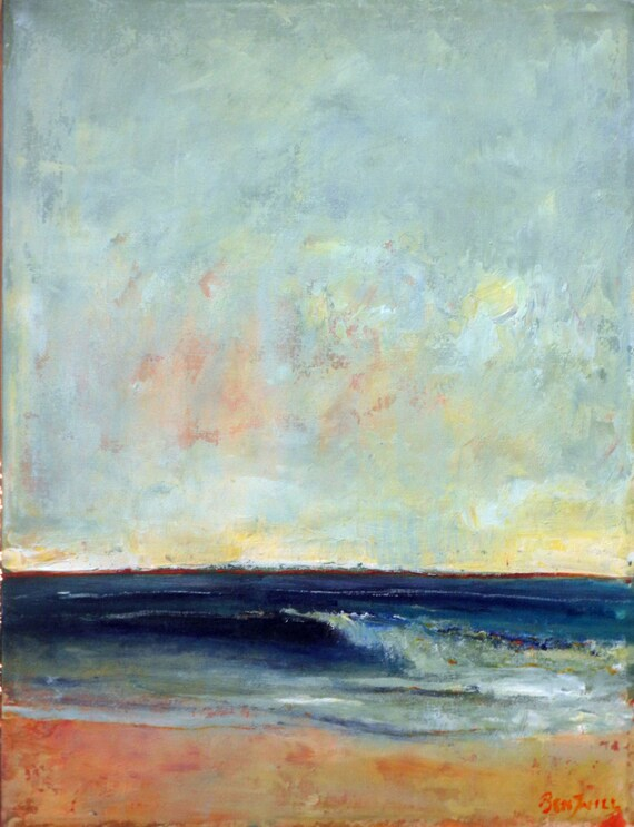 Seascape Beach Surf Abstract Art Painting Wave Original Artwork 24x18 by BenWill