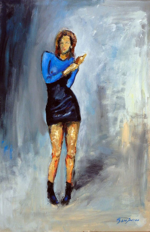ORIGINAL Oil Painting Blue Dress - Woman Runway Dress Portrait VOGUE - 30x20 BenWill