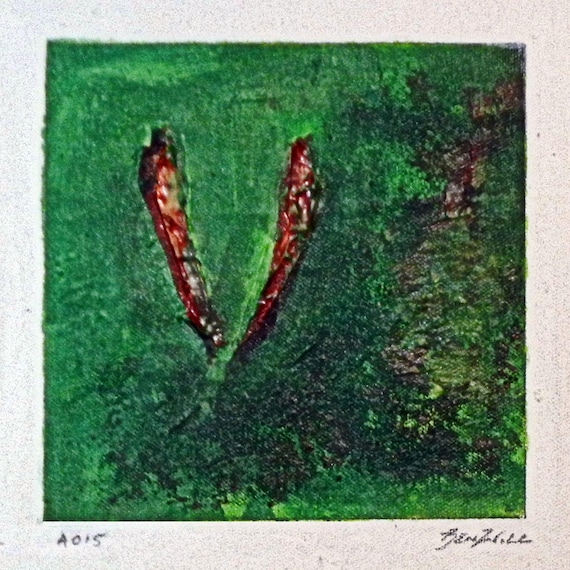 Daily Painting  A015 Small Abstract Study Painting Valentines Gift Art by BenWill