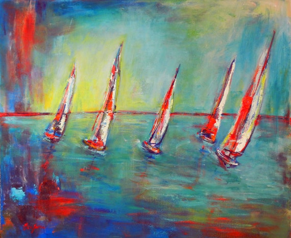 ORIGINAL Painting Sailboats Art Ocean Seascape Art Painting 36x30 by BenWill