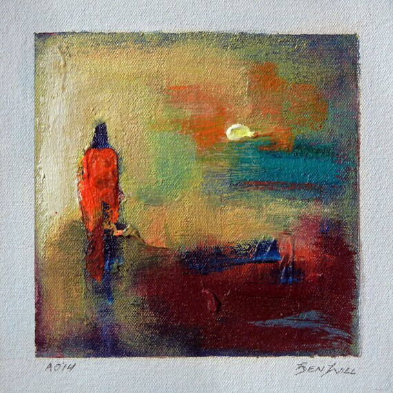 Daily Painting  A014 Small Abstract Study Painting Artwork by BenWill