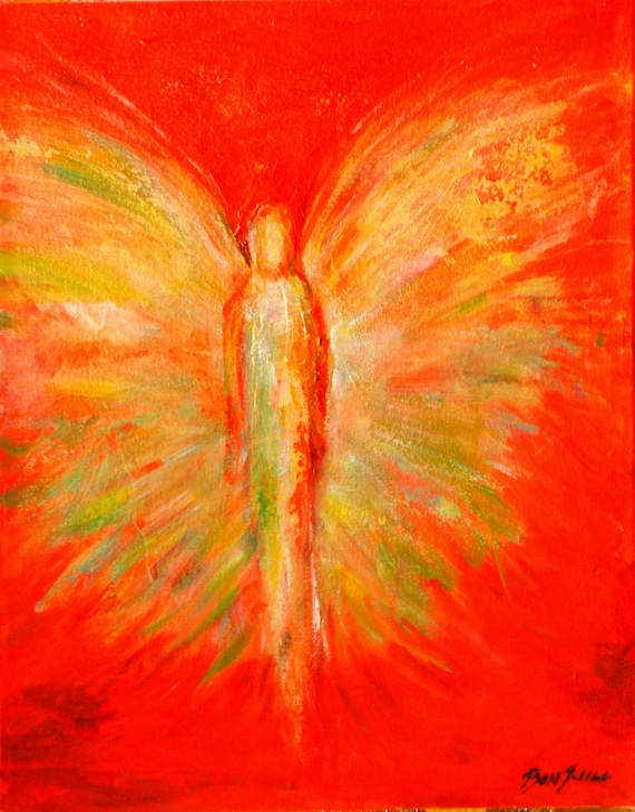 ORIGINAL Angel Art Painting on Canvas - Vision of Angels Rejuvenation 20x16 by BenWill