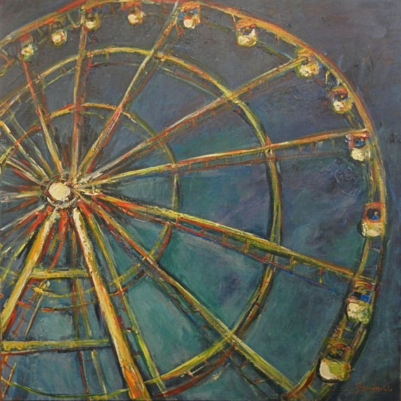 Ferris Wheel Painting ORIGINAL Abstract Art Circus 36x36 by BenWill