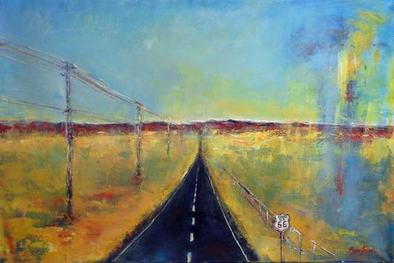 HIGHWAY Abstract Modern Oil Painting Route 66 ORIGINAL Southwestern Art 36x24 by BenWill