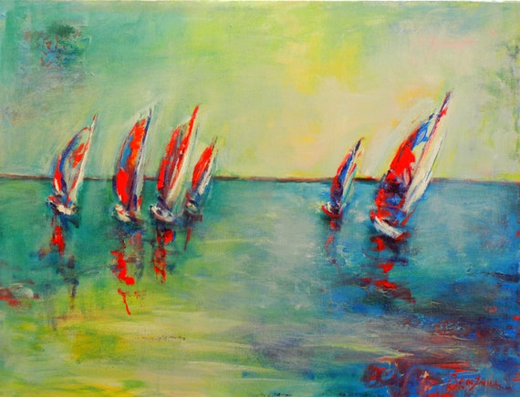ORIGINAL Abstract SEASCAPE Painting Sailboats Art Ocean Painting 24x18 by BenWill