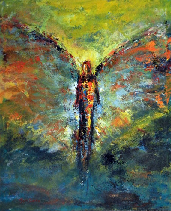 ORIGINAL Angel Art Oil Painting on Canvas - Impressionist Painting from Vision of Angels Series - Glory 24x20 by BenWill