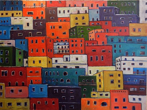 COLORFUL Large Original Modern Painting Guanajuato Houses  Mexico Art 48x36 by BenWill