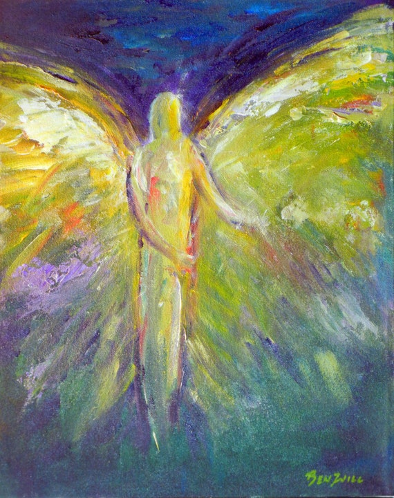 ORIGINAL Angel Abstract Art Oil Painting Relinquish Vision of Angels Series 20x16 by BenWill